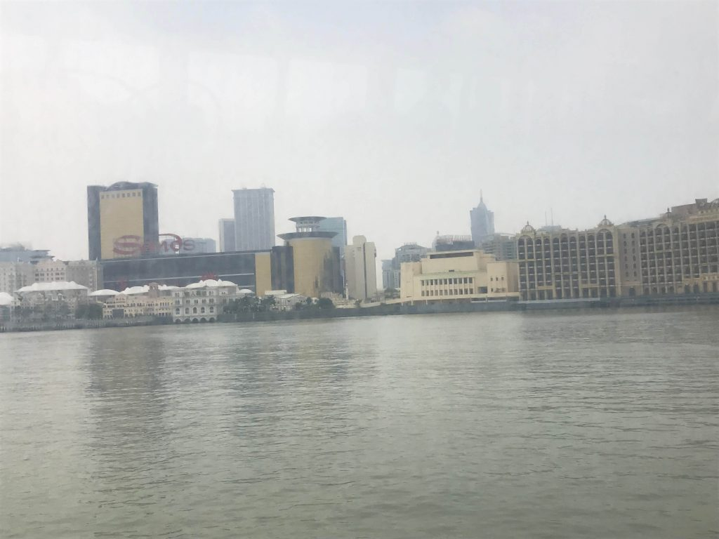 The mist hung in the air as the ferry arrived into Macau