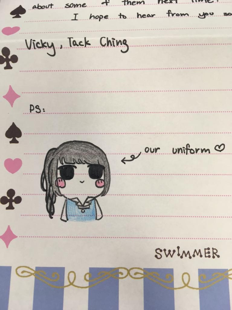 The students in HK have prepared their letters to send to their pen pals in the UK. They have even included little drawings to show their uniform to their pen pals