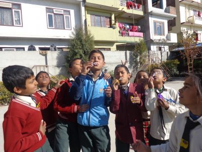 The students in Nepal were so fascinated by bubbles