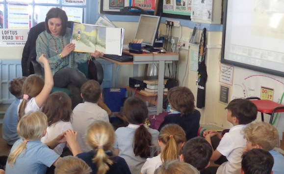 Elly and her students enjoy story time at school in England