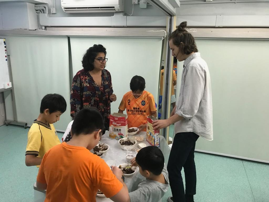 Our tutors lead a food workshop for students involved with the Heep Hong Society