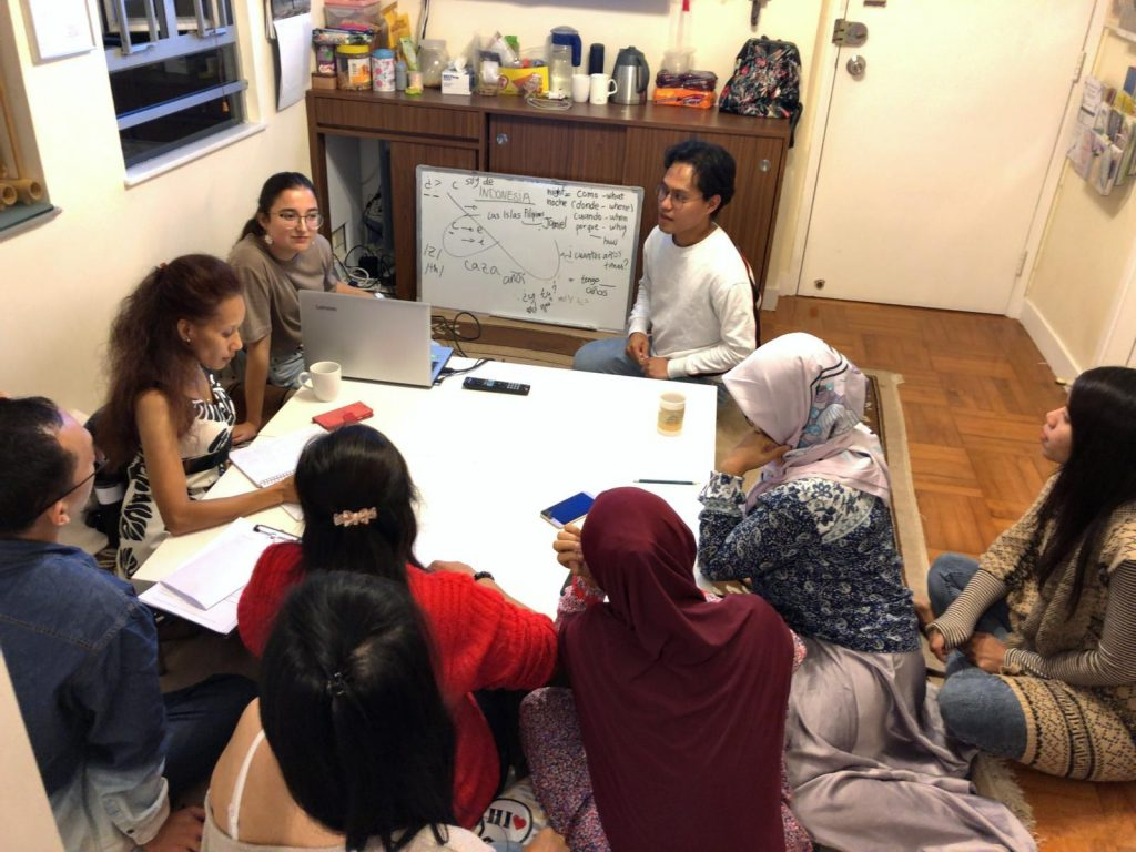 Silvia [left] and Jam [right] lead a workshop for beneficiaries involved in the TCK Learning Centre