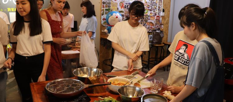 Students enjoyed a vegan cooking class