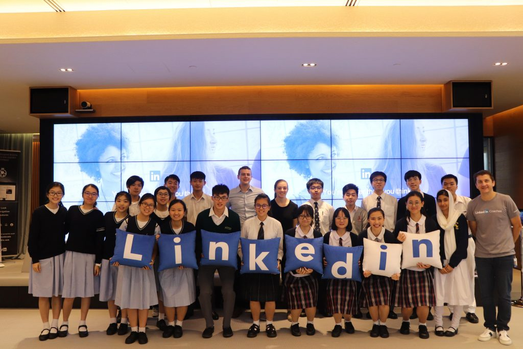 Students attend an office programme at the LinkedIn office in Hong Kong