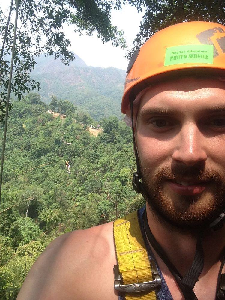 Tim enjoyed his zipline experience in Thailand