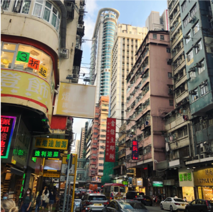 A bustling Mong Kok street | Photo by Anneliese Murray