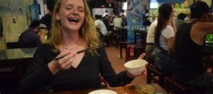 Freya enjoys a delicious Taiwanese meal