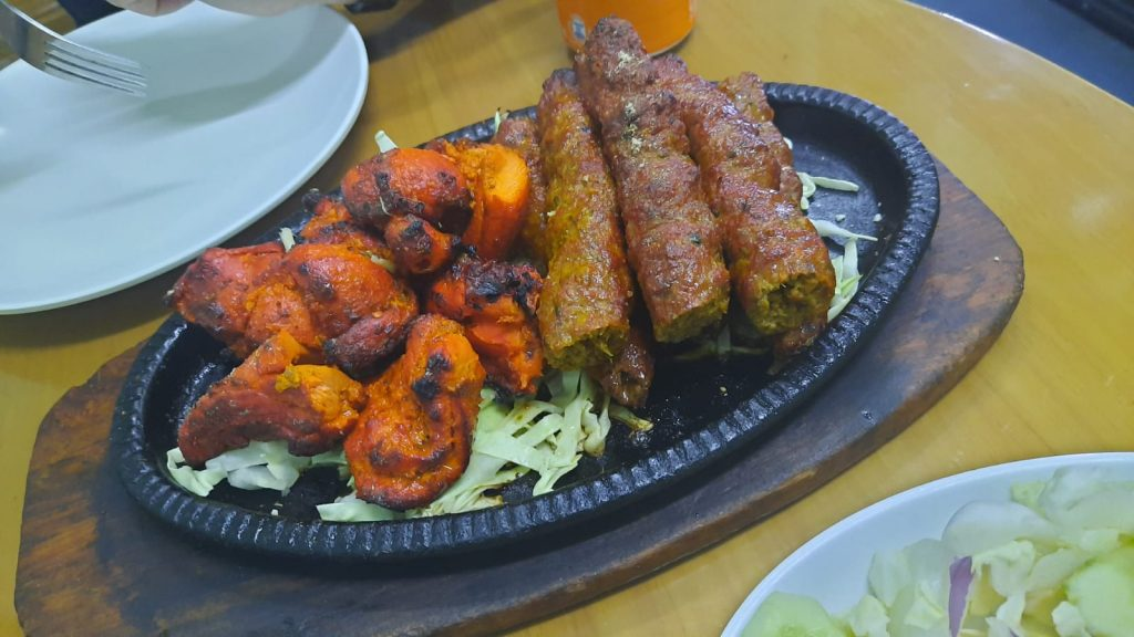 Straight from the tandoor - chicken tikka and seekh kebabs at Seqique Halal Mess   Image by Ciaran Ratton